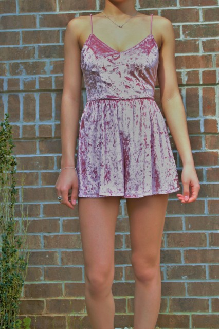 LA Hearts Velvet Pink Romper from PacSun