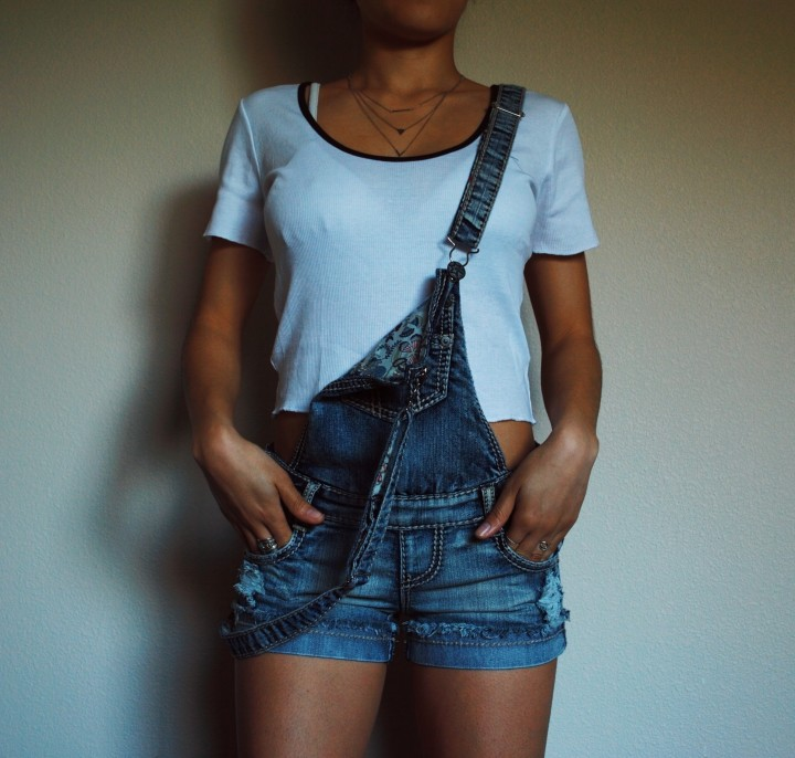 Zara White Crop Top with Overalls
