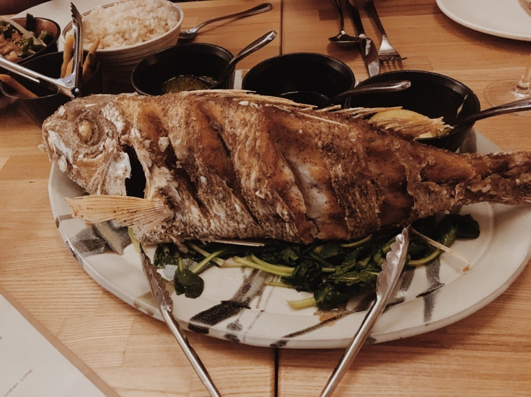 Mahina and Sun's at the Surfjack Hotel - whole fish dinner