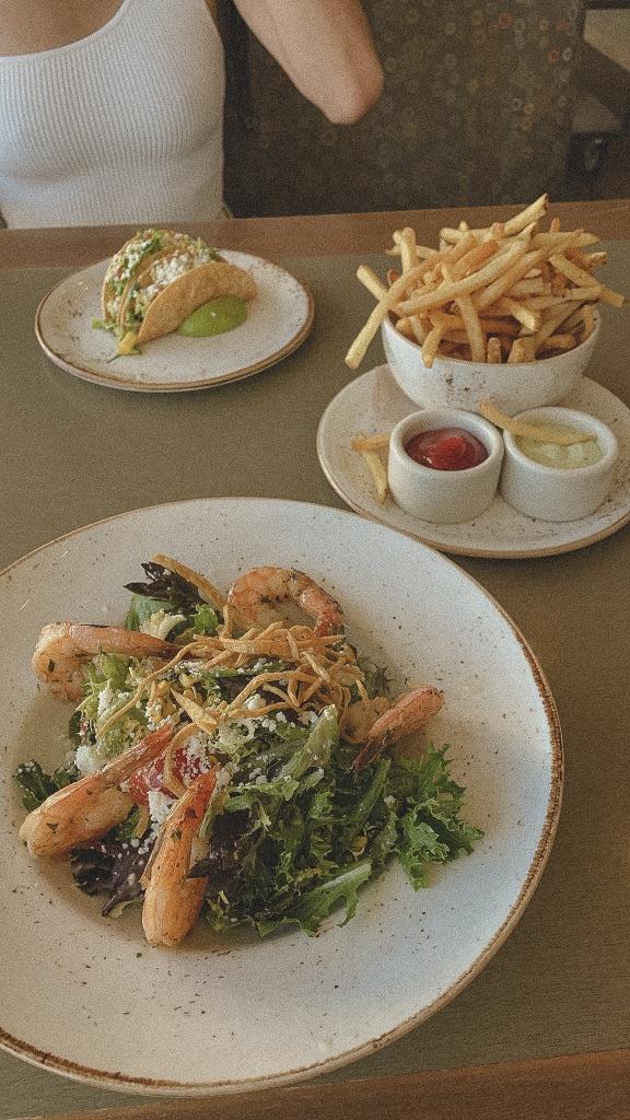 Fish Tacos, Shrimp Salad, Fries