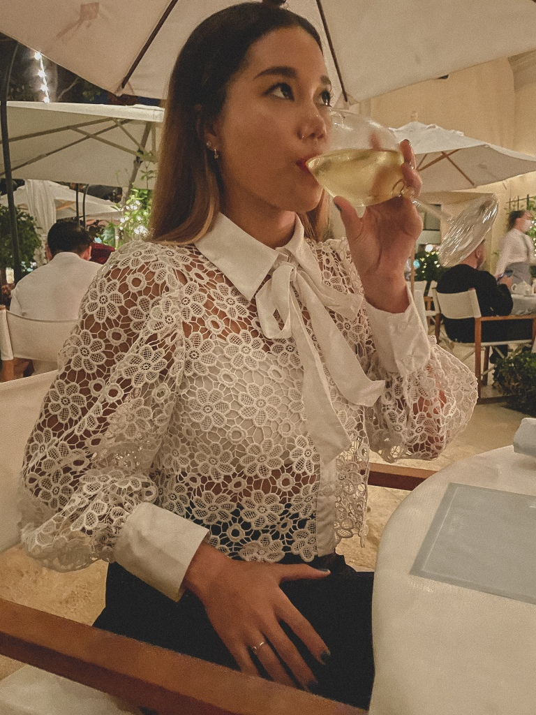 The Terrace at the Maybourne Beverly Hills wearing Zara